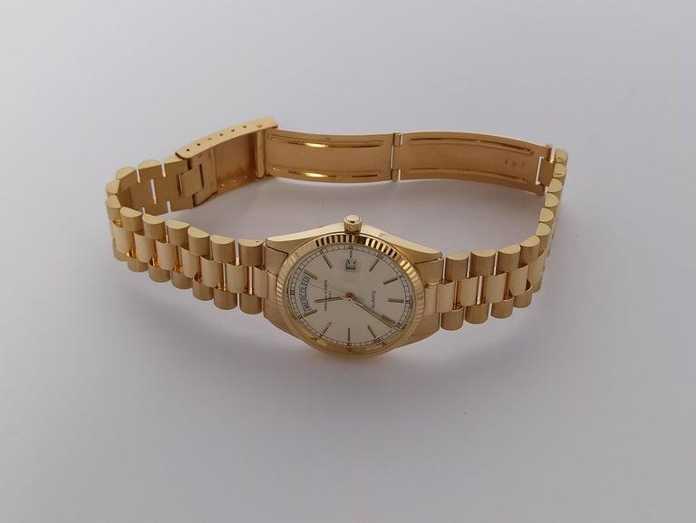Original Genève Day Date Style 18 Karat Solid Gold Wristwatch President Bracelet For Sale 4