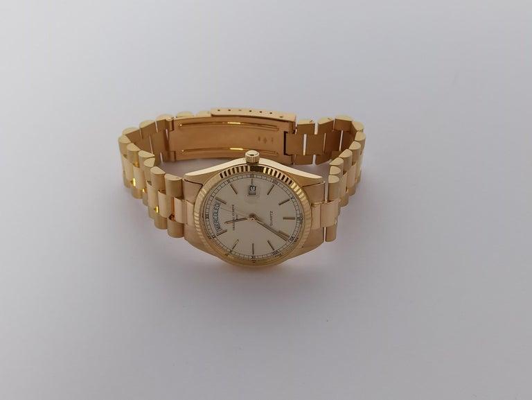 Original Genève Day Date Style 18 Karat Solid Gold Wristwatch President Bracelet For Sale 5