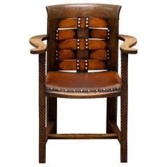 Original George Henry Walton Arts & Crafts Oak & Leather Armchair Glasgow School