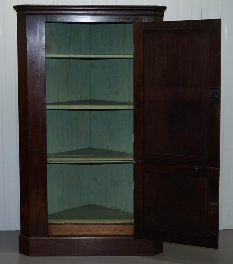 Original George III circa 1760 Solid Mahogany Corner Cupboard Large Bookcase For Sale 10