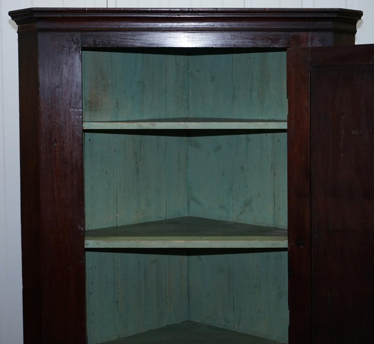 Original George III circa 1760 Solid Mahogany Corner Cupboard Large Bookcase For Sale 12