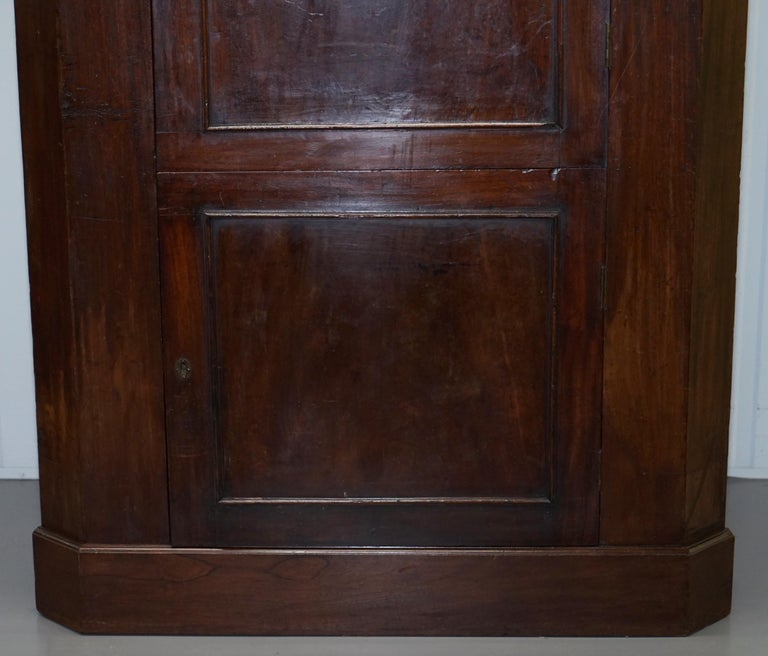 Hand-Crafted Original George III circa 1760 Solid Mahogany Corner Cupboard Large Bookcase For Sale