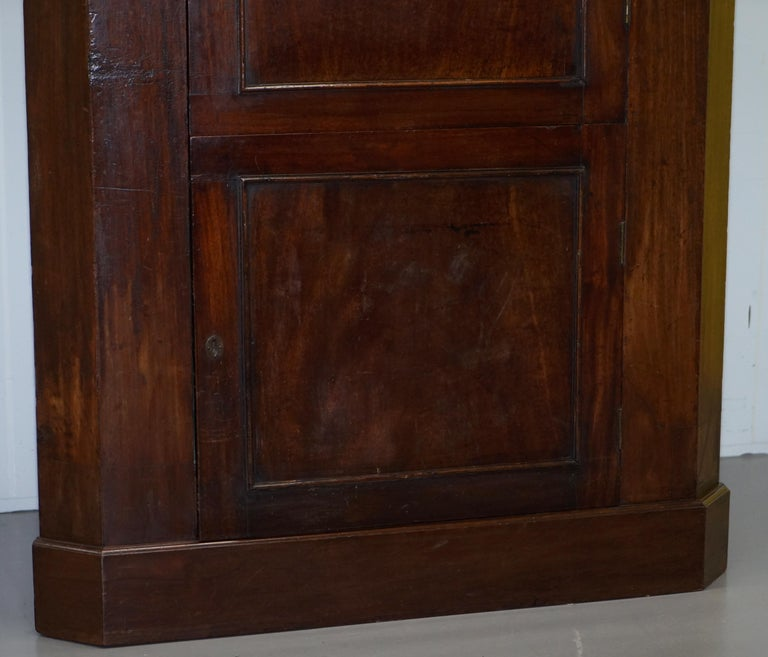 Mid-18th Century Original George III circa 1760 Solid Mahogany Corner Cupboard Large Bookcase For Sale