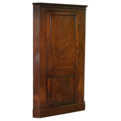 Original George III circa 1760 Solid Mahogany Corner Cupboard Large Bookcase