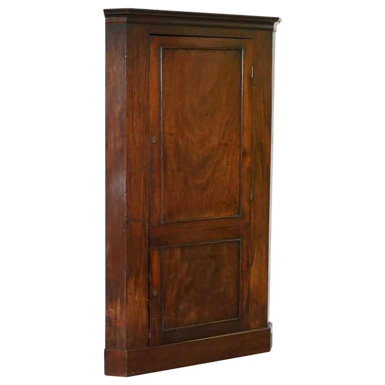 Original George III circa 1760 Solid Mahogany Corner Cupboard Large Bookcase For Sale