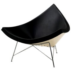Original George Nelson Coconut Chair, Vitra, Black Leather, White Shell, Chrome
