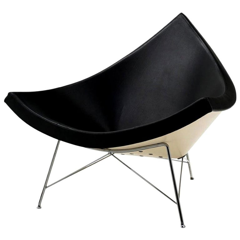 Original George Nelson Coconut Chair, Vitra, Black Leather, White Shell, Chrome For Sale