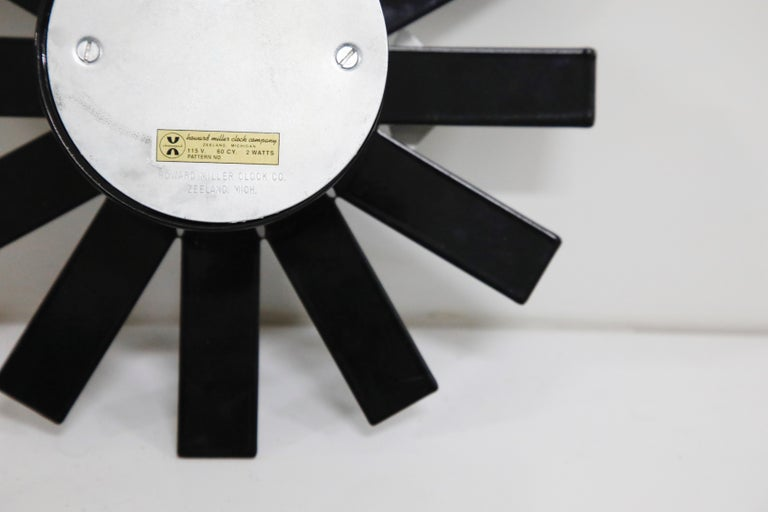 Original George Nelson for Howard Miller Black 'Asterisk' Wall Clock, circa 1960 For Sale 10