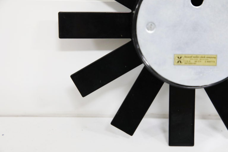Original George Nelson for Howard Miller Black 'Asterisk' Wall Clock, circa 1960 For Sale 12