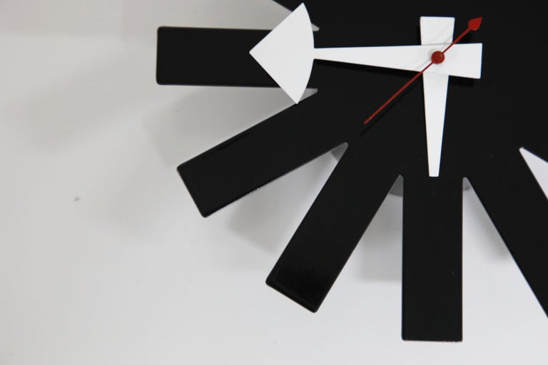 Mid-20th Century Original George Nelson for Howard Miller Black 'Asterisk' Wall Clock, circa 1960 For Sale