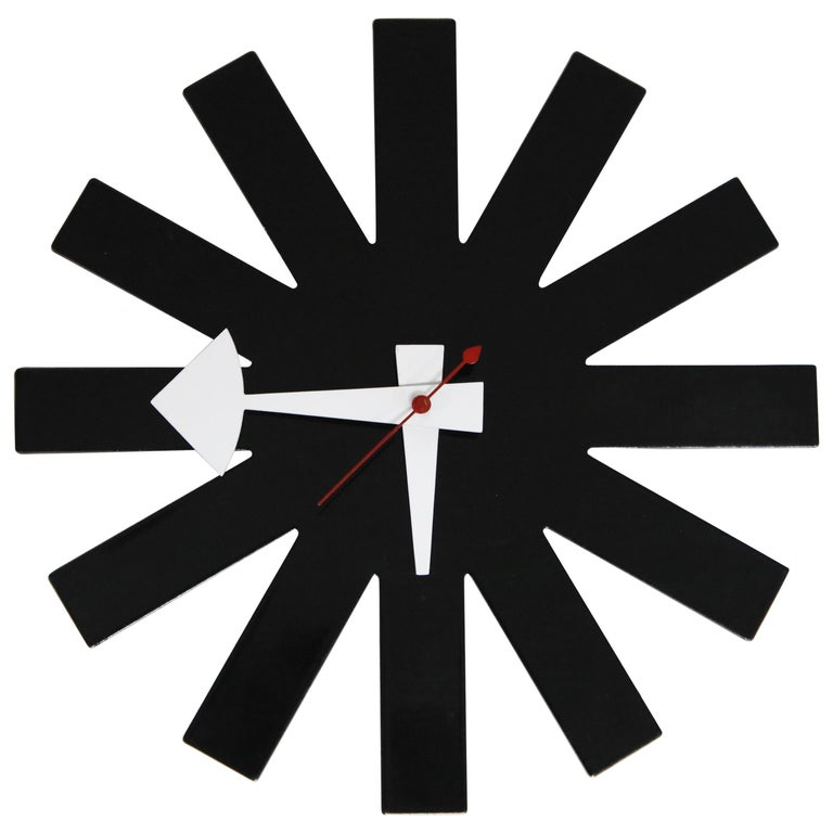 Original George Nelson for Howard Miller Black 'Asterisk' Wall Clock, circa 1960 For Sale
