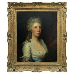 Original Gilbert Stuart Oil Painting Portrait of Henrietta Hillegas, ca. 1796