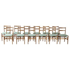 A Set of 12 Gio Ponti Leggera Model 646 Dining Chairs for Cassina, Italy, 1950s