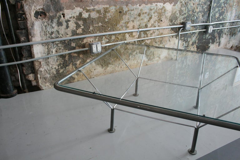 Mid-Century Modern Original Glass and Steel Coffee Table by Niels Bendtsen For Sale