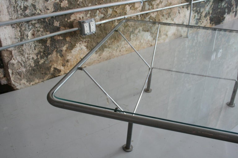 Danish Original Glass and Steel Coffee Table by Niels Bendtsen For Sale