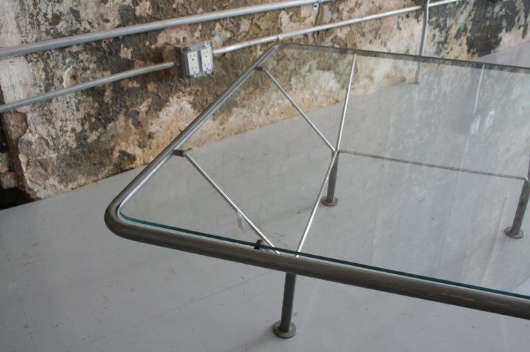 Original Glass and Steel Coffee Table by Niels Bendtsen In Good Condition For Sale In Chicago, IL