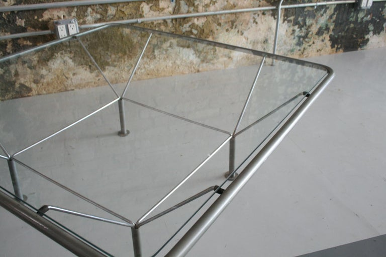 Late 20th Century Original Glass and Steel Coffee Table by Niels Bendtsen For Sale