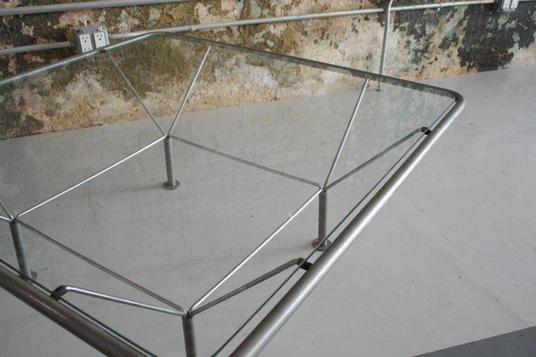 Metal Original Glass and Steel Coffee Table by Niels Bendtsen For Sale