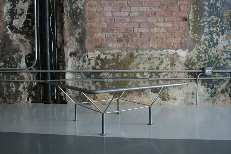 Original Glass and Steel Coffee Table by Niels Bendtsen For Sale 1