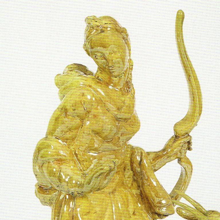 Diana the Huntress is an original decorative object realized by Carlo Lorenzetti for Pietro Melandri in 1934.  Original Faenza Ceramics. Original glazed majolica.  Good conditions; some restorations on patina  Reference:  - Gaudenzi E.,