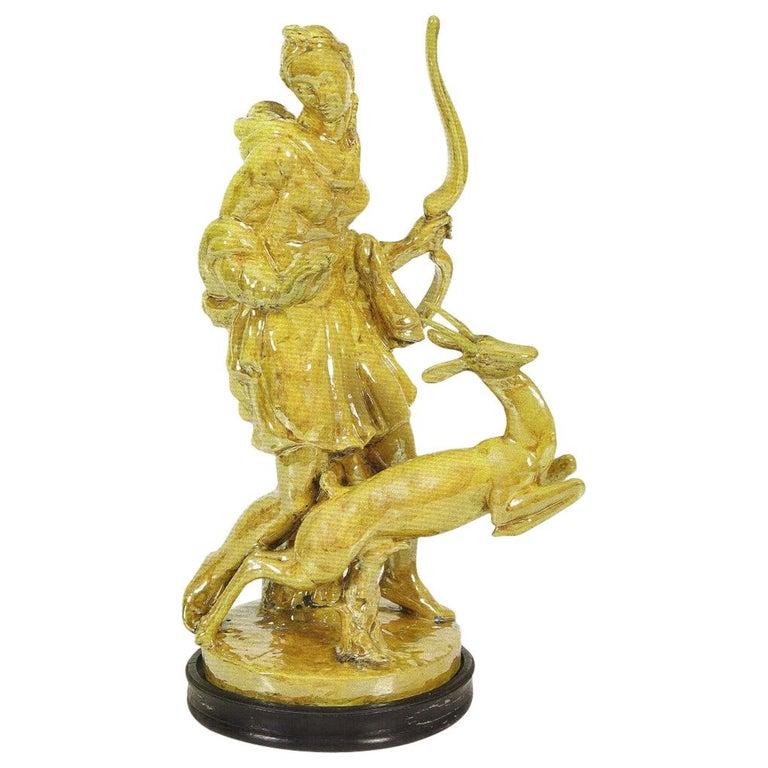 Original Glazed Majolica Statute, Carlo Lorenzetti for Pietro Melandri, 1934 For Sale