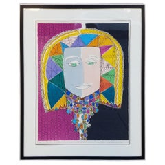 "Original Gloria Vanderbilt Lithograph Titled ""Egyptian Head"", 1972"