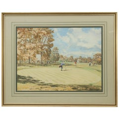 Original Golf Watercolour, Wentworth West Course, 18th Green by Arthur Weaver