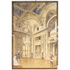Original Gouache & Ink Architectural Masterwork of Vienna Hofburg Palace, 1910