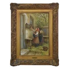 Original Gouche Painting by James Crawford Thom Two Girls Feeding a Squirrel