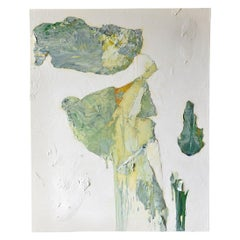 Original Green and Ivory Abstract Acrylic on Canvas by Brandon Charles Weber