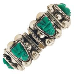 Original Green Chalcedony Mexico Mask Wide Sterling Silver Custom Bracelet