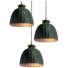 Original Green Deep Dome X-Ray Mercury Glass Pendant
