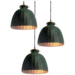 Original Green Deep Dome X-Ray Mercury Glass Pendants