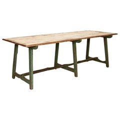 Original Green Painted Antique Long Work Table Farmhouse Dining Table from Swede