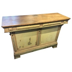 Original Green Painted French Candy Store Counter