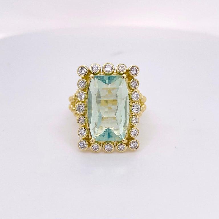 Modern Original Green Tourmaline Diamond Ring, 9 Carat Rare Mint Green Tourmaline For Sale