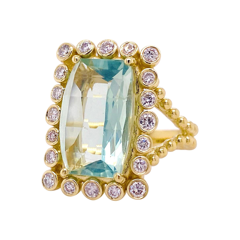 Original Green Tourmaline Diamond Ring, 9 Carat Rare Mint Green Tourmaline