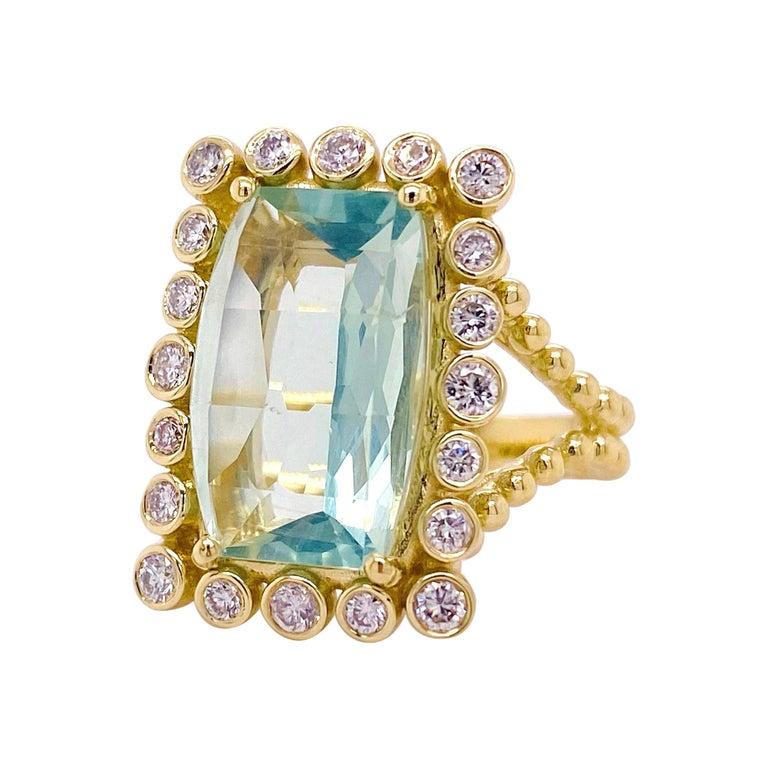 Original Green Tourmaline Diamond Ring, 9 Carat Rare Mint Green Tourmaline For Sale