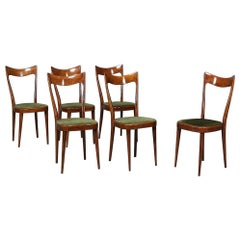 Original Green Velvet 6 Sculptural Art Deco Dining Chairs, circa 1920s
