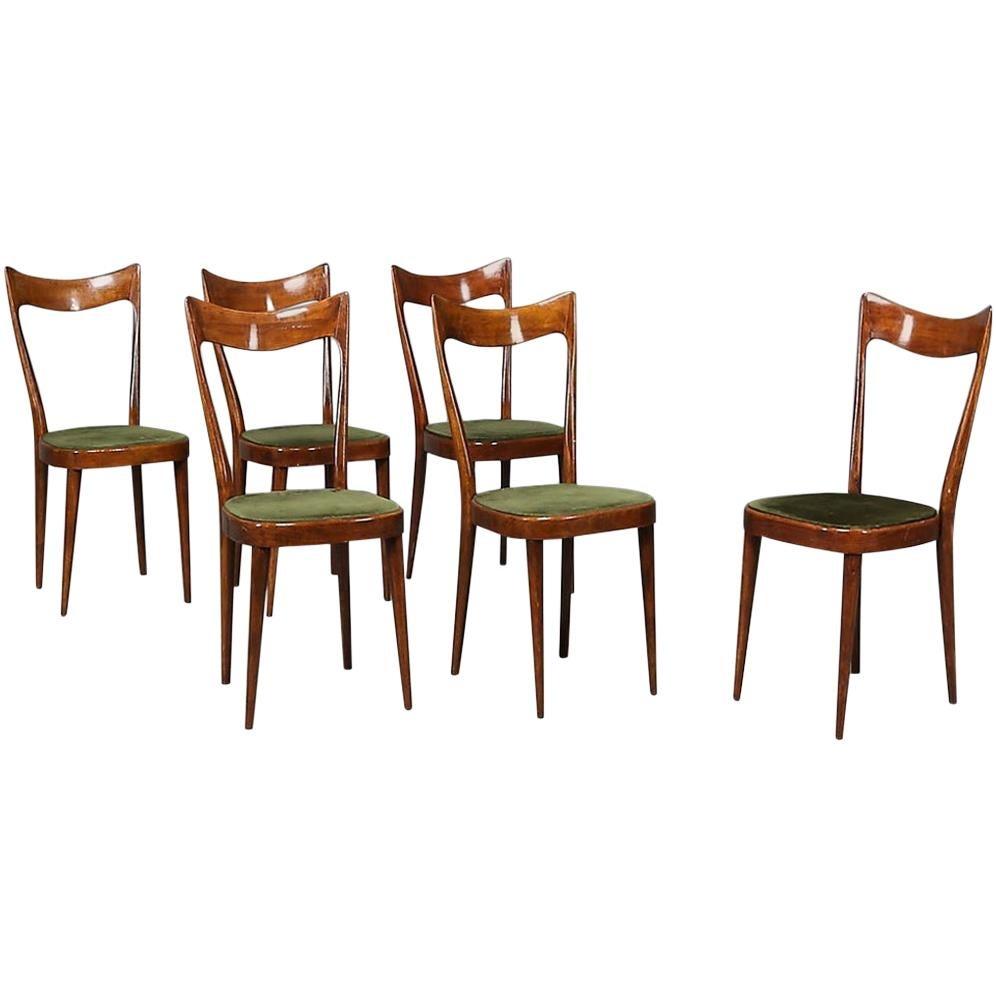 Green Velvet 6 Sculptural Dining Chairs, circa 1920s