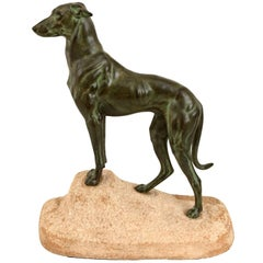 Original Greyhound Sculpture Sloughi by Masson, Original Max Le Verrier