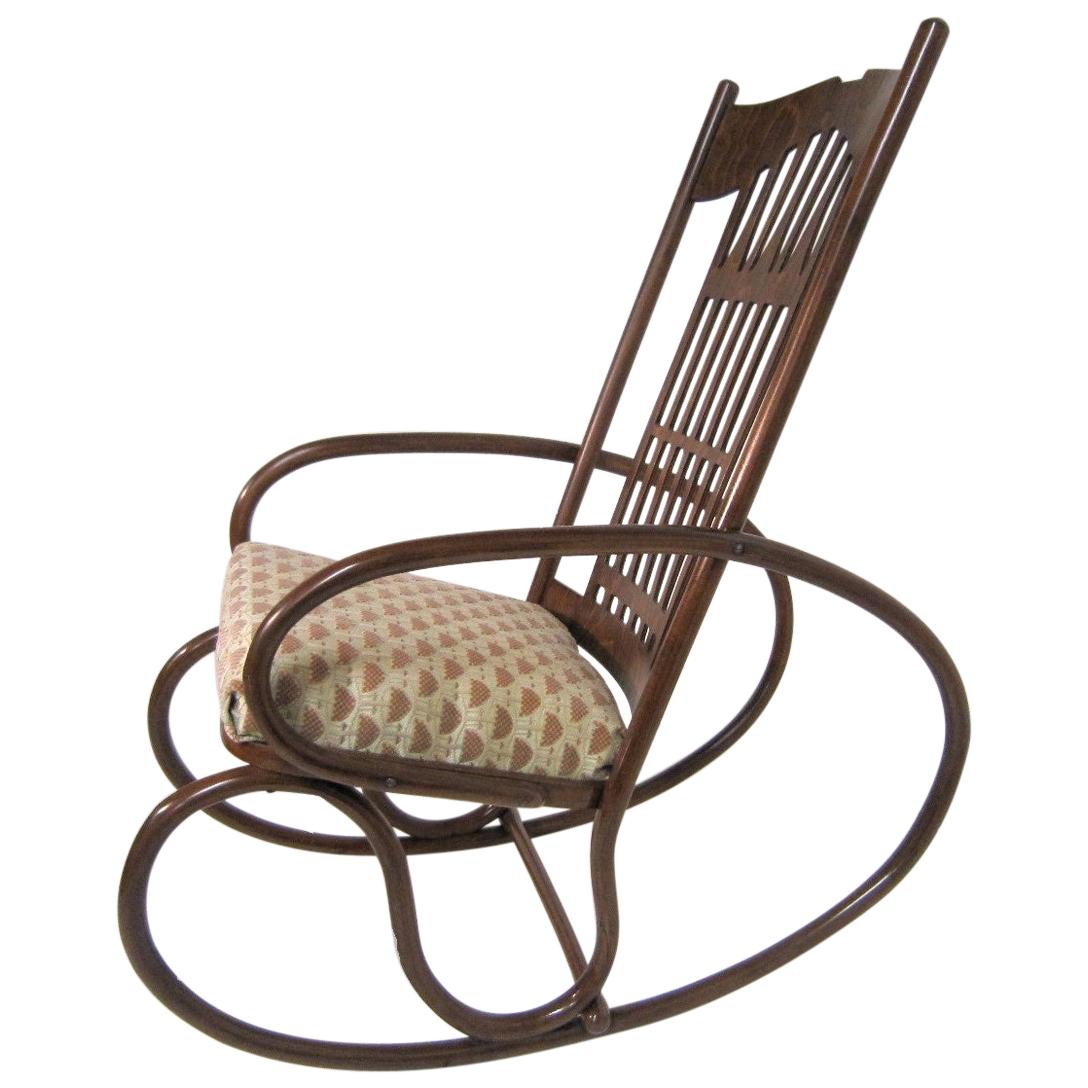 Original Gustav Siegel Bentwood Rocking Chair / Lounge, Jacob & Josef Kohn