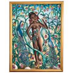 Original Haitian Female Nude Oil on Canvas Signed Wilson Bigaud Painting
