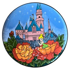 Original Hand Painted Disney Tinker Bell Large Art Plate by Elisabete Gomes
