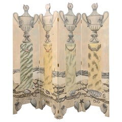 Original Hand Painted Four-Panel Screen Room Divider Coromandel Painting Art