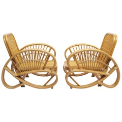 Original Handcrafted Pair Of Bamboo Armchairs, 1970s