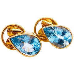 Original Handmade Blue Topaz Yellow Gold Stud Earrings W/ Hand Fabricated Bezels