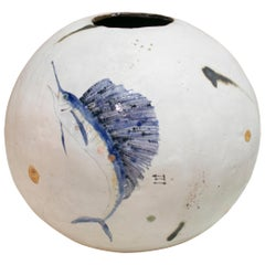 Original Handmade Ceramic Vase Decorated with Hand Painted Fish and Plants