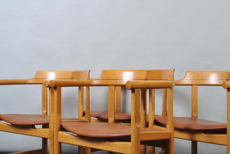 Original Hans J Wegner Oak and Tan Leather Chairs, Set of 6 For Sale 9