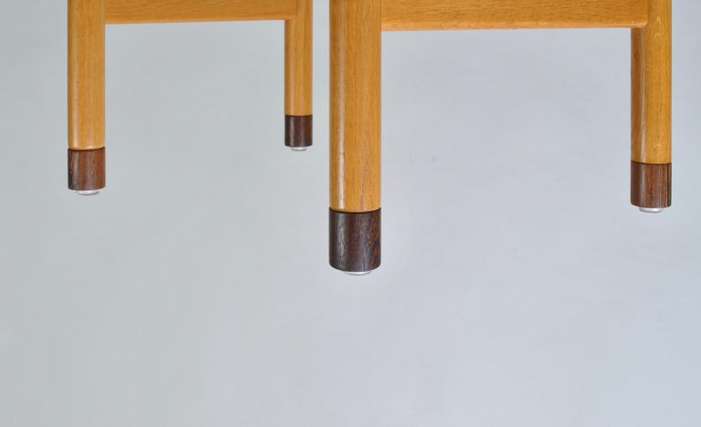 Original Hans J Wegner Oak and Tan Leather Chairs, Set of 6 For Sale 13